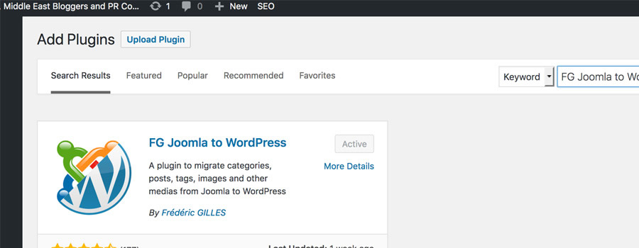 inside article instal plugin1a 1 - How to Migrate Joomla websites to WordPress sites